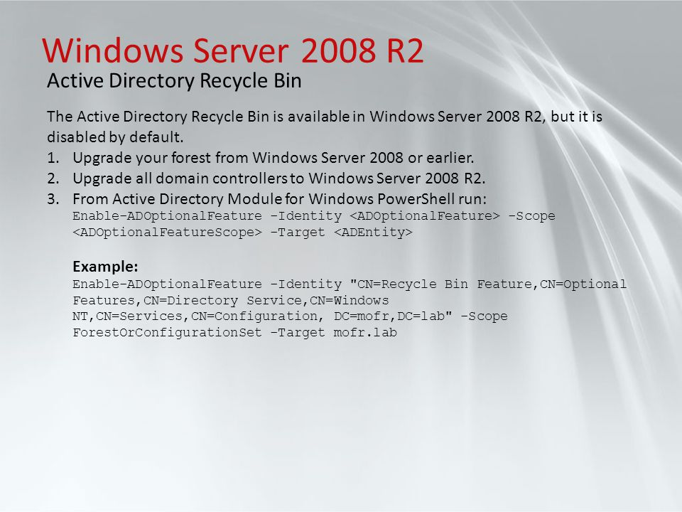 Windows Server 2008 R2 Active Directory Recycle Bin