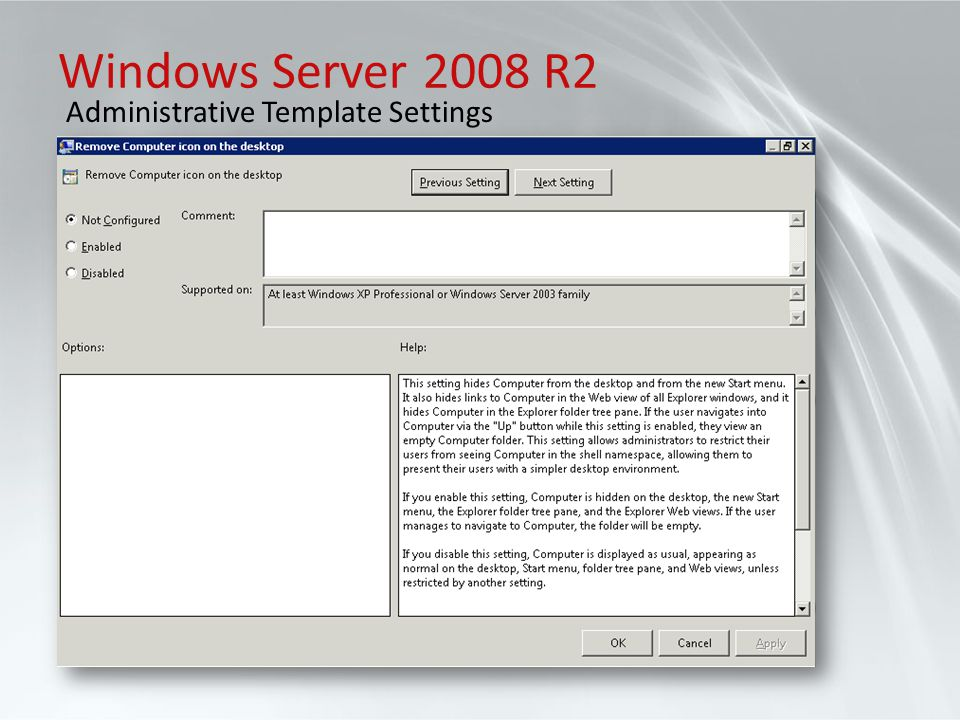 Windows Server 2008 R2 Administrative Template Settings
