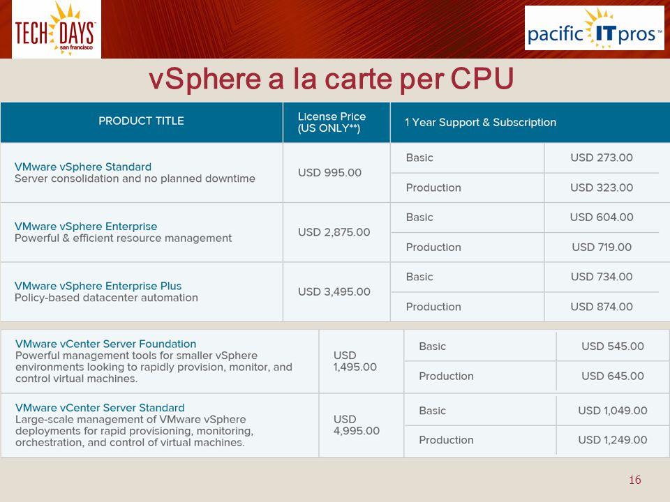 vSphere a la carte per CPU