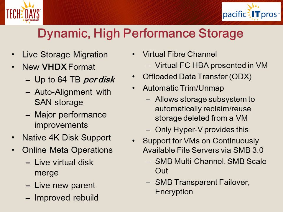 Dynamic, High Performance Storage