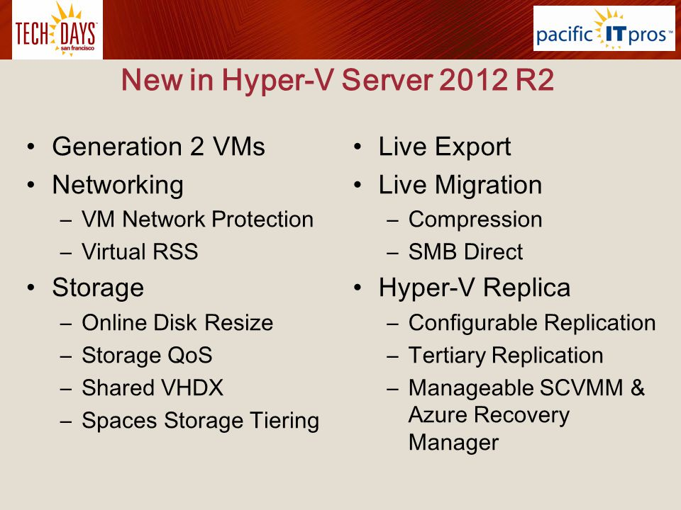 New in Hyper-V Server 2012 R2 Generation 2 VMs Networking Storage