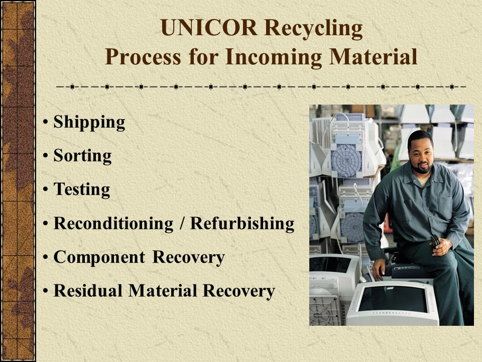 UNICOR Recycling Process for Incoming Material