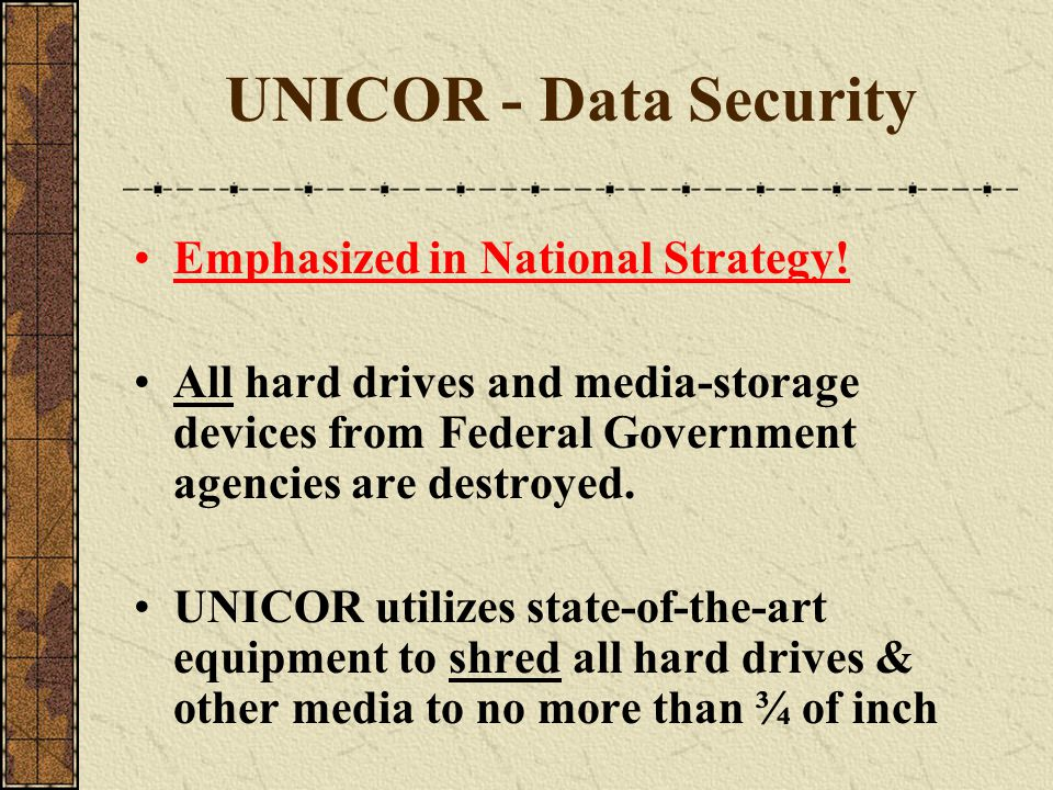 UNICOR - Data Security Emphasized in National Strategy!
