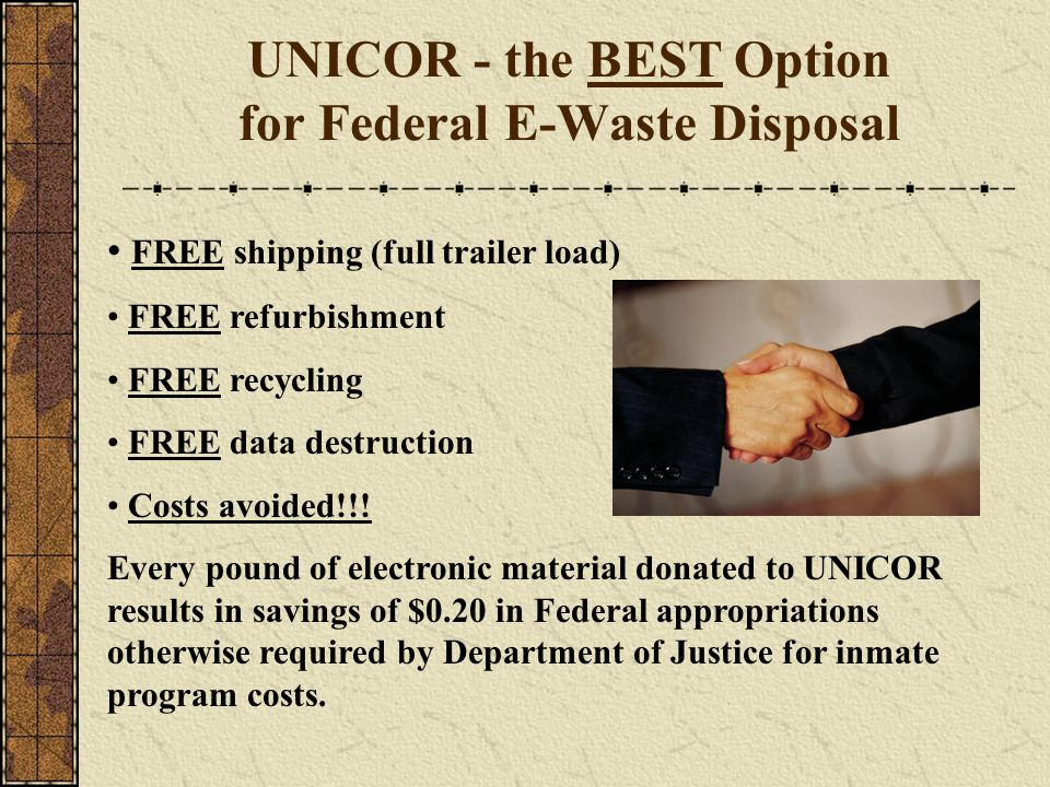 UNICOR - the BEST Option for Federal E-Waste Disposal