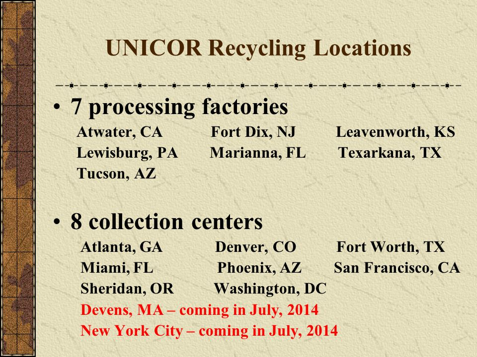 UNICOR Recycling Locations