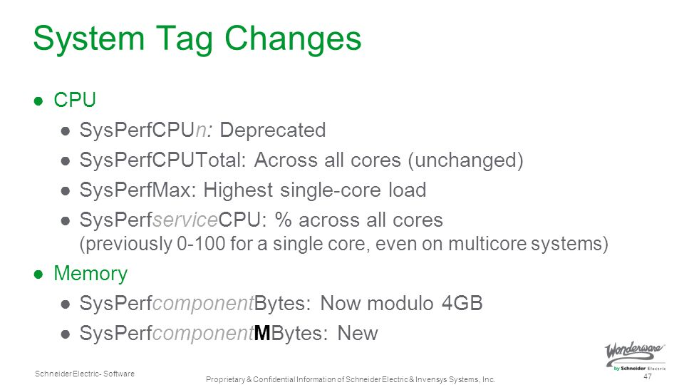 System Tag Changes CPU SysPerfCPUn: Deprecated