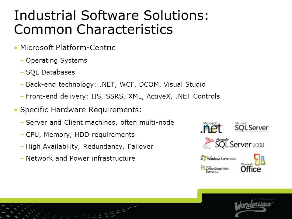Industrial Software Solutions: Common Characteristics