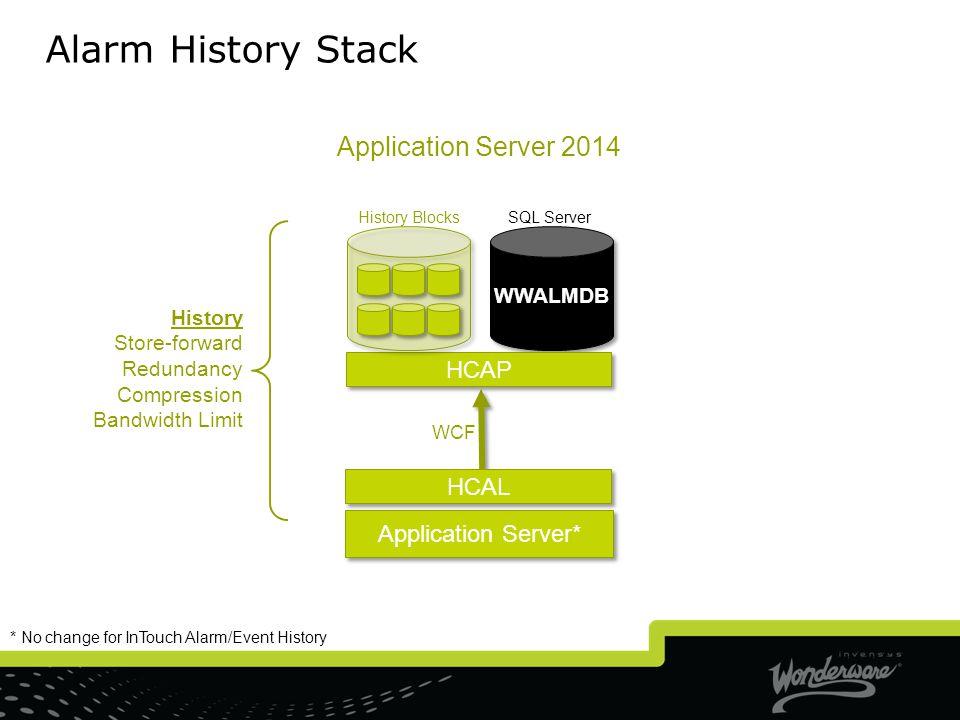 Alarm History Stack Application Server 2014 HCAP HCAL