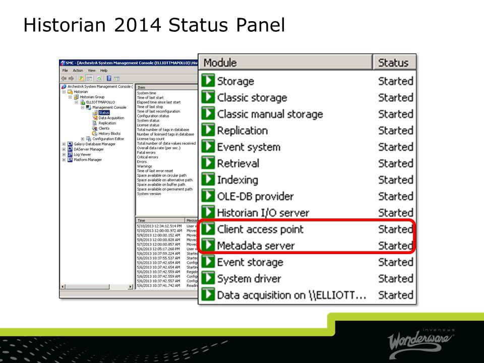Historian 2014 Status Panel