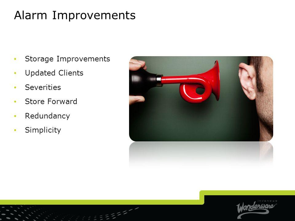 Alarm Improvements Storage Improvements Updated Clients Severities