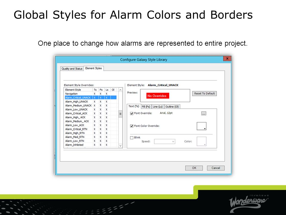 Global Styles for Alarm Colors and Borders
