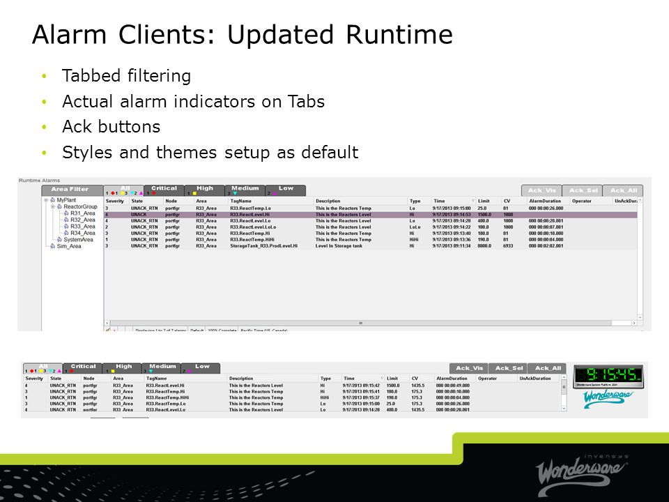 Alarm Clients: Updated Runtime