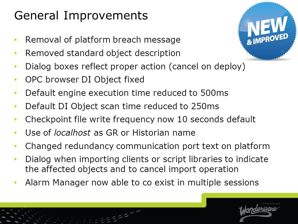 General Improvements Removal of platform breach message
