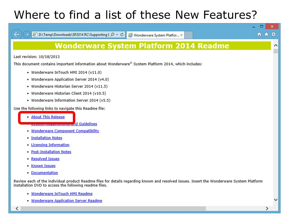 Where to find a list of these New Features
