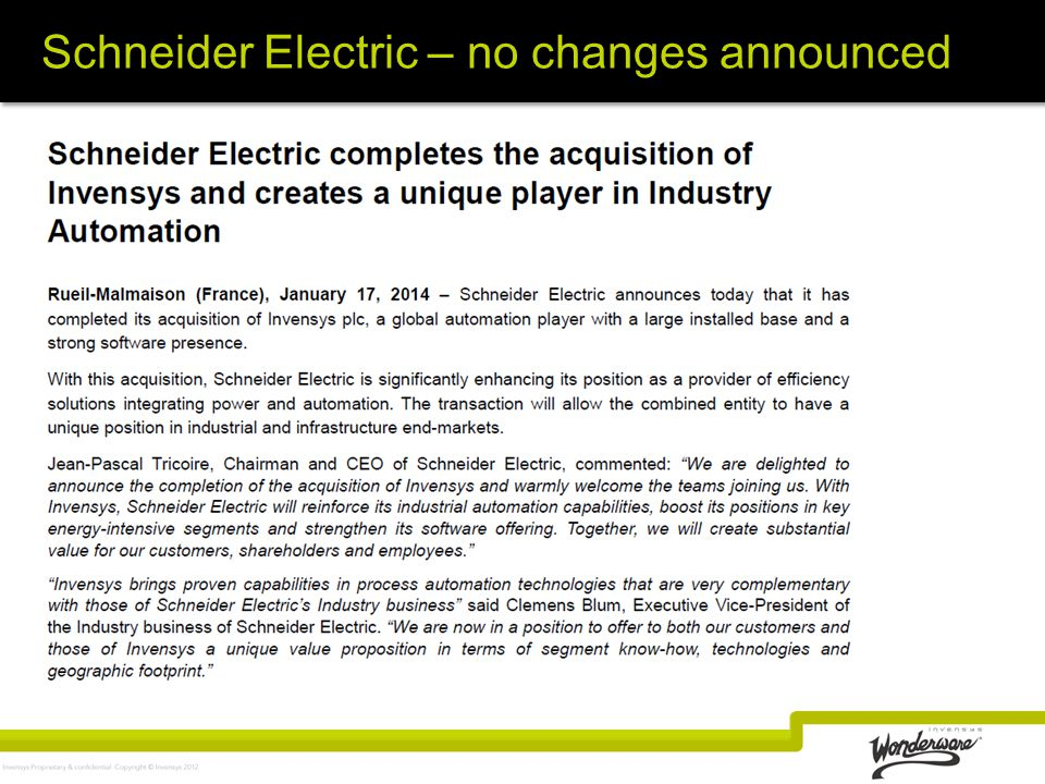 Schneider Electric – no changes announced