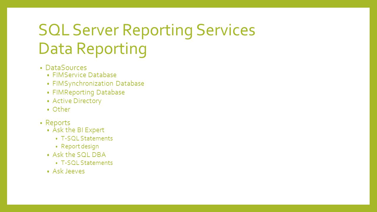 SQL Server Reporting Services Data Reporting