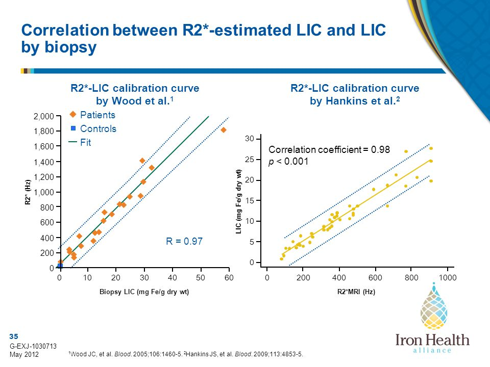 Correlation between R2*-estimated LIC and LIC by biopsy