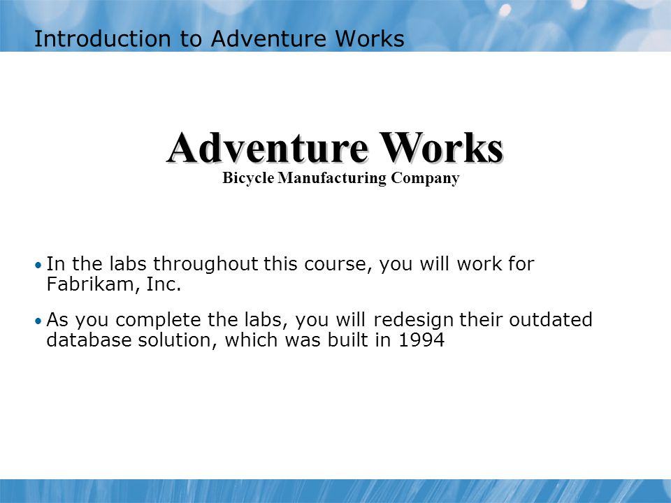 Introduction to Adventure Works