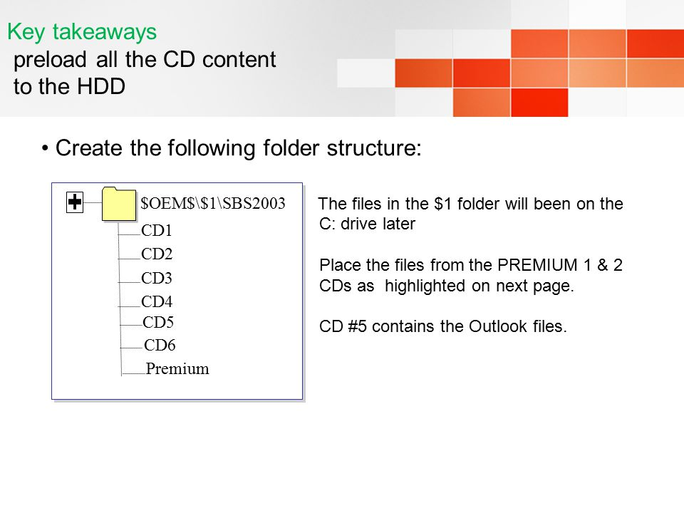 Key takeaways preload all the CD content to the HDD