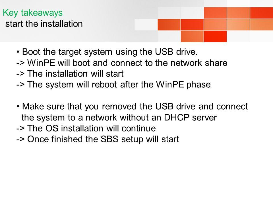Key takeaways start the installation