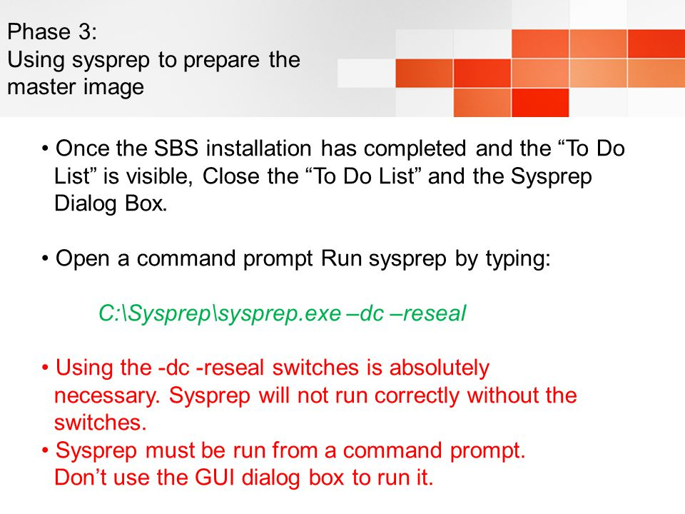 Phase 3: Using sysprep to prepare the master image