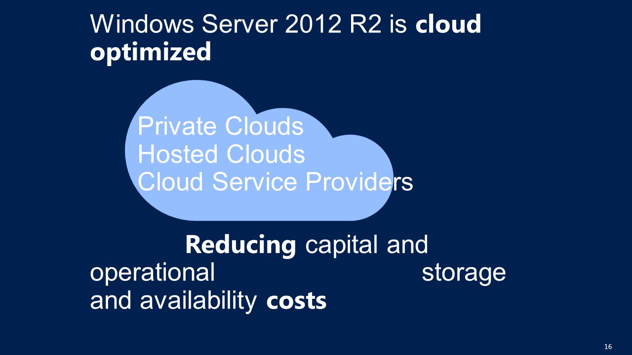 Windows Server 2012 R2 is cloud optimized