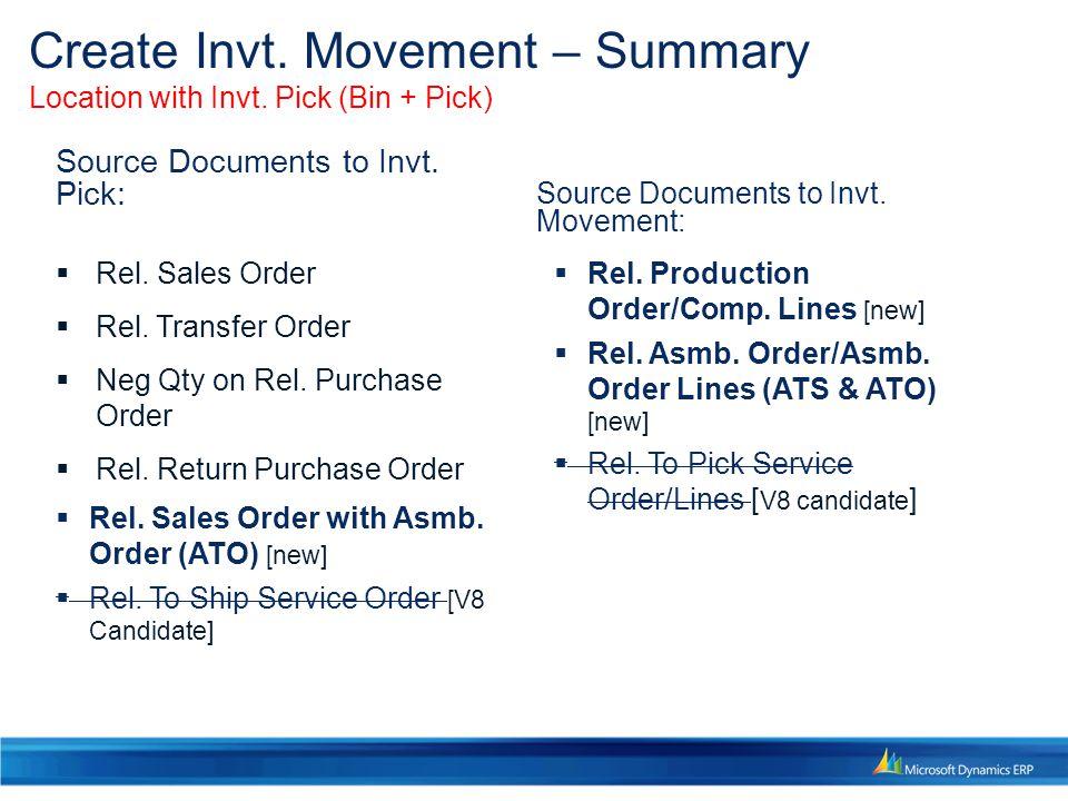 Create Invt. Movement – Summary Location with Invt. Pick (Bin + Pick)