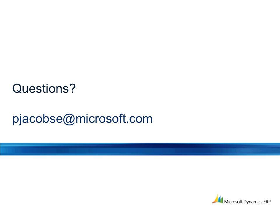 Questions pjacobse@microsoft.com