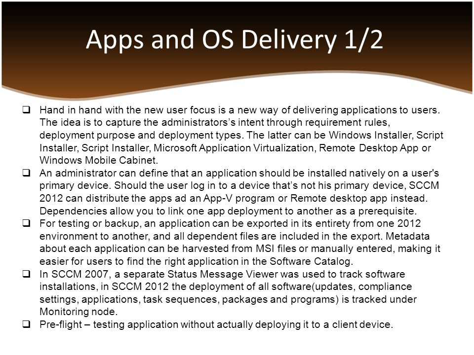 Apps and OS Delivery 1/2