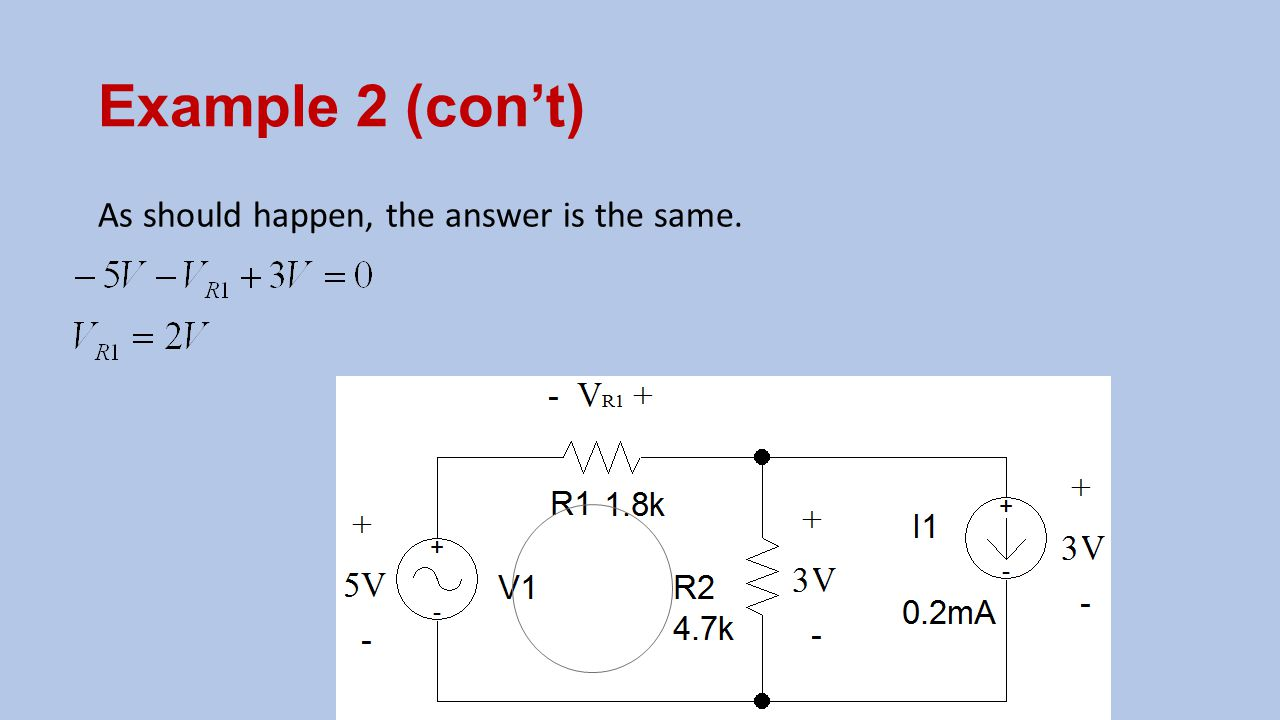 Example 2 (con't) As should happen, the answer is the same.