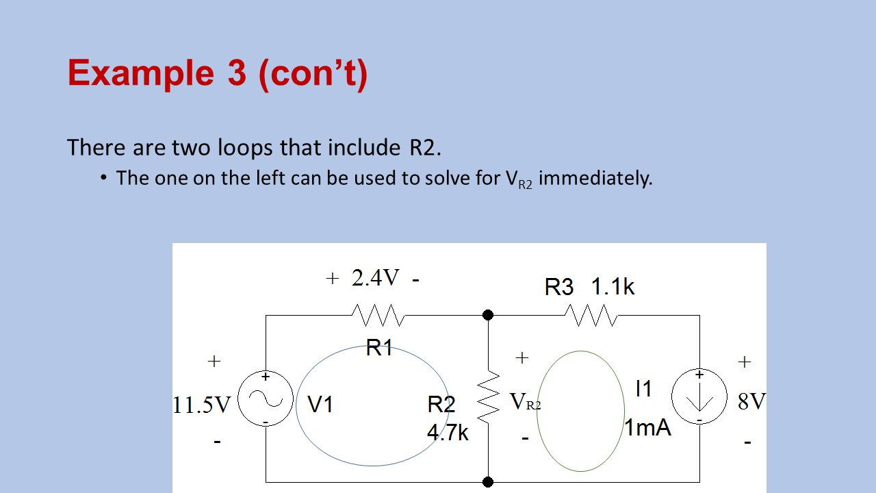 Example 3 (con't) There are two loops that include R2.