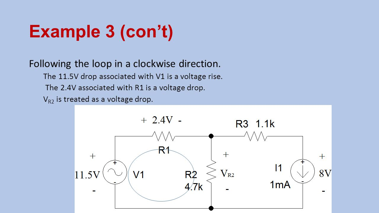 Example 3 (con't) Following the loop in a clockwise direction.