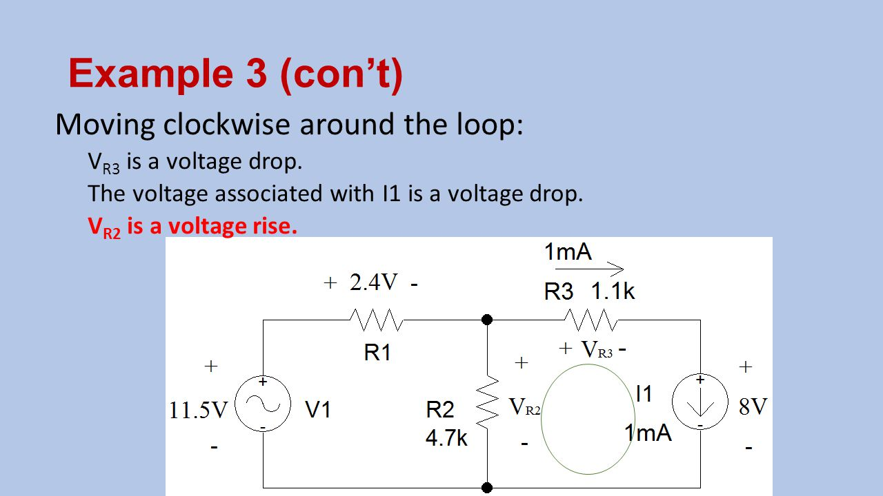 Example 3 (con't) Moving clockwise around the loop: