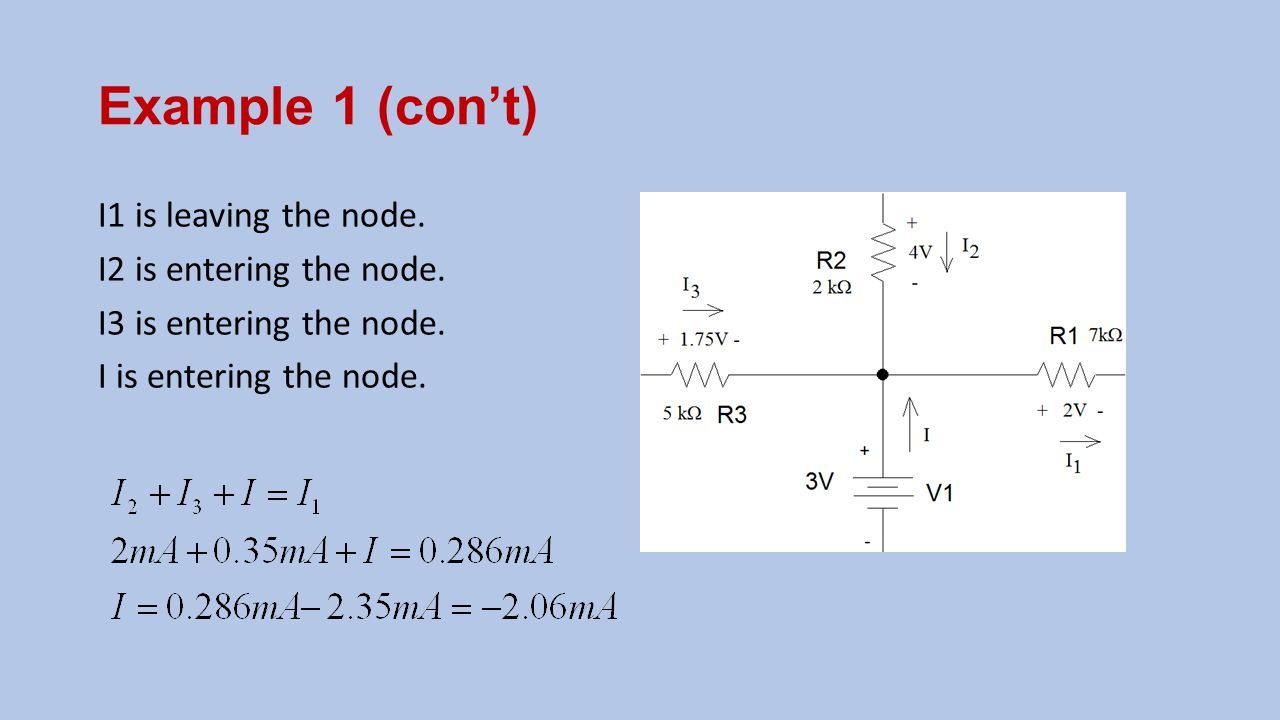 Example 1 (con't) I1 is leaving the node. I2 is entering the node.