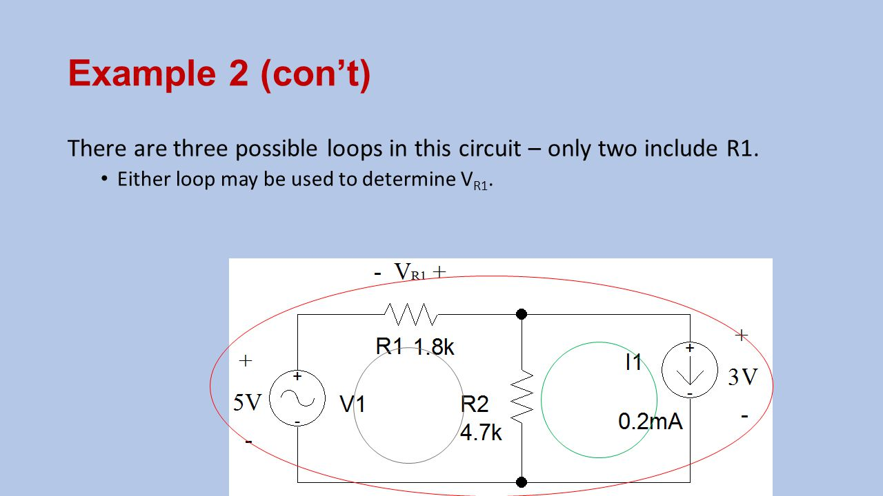 Example 2 (con't) There are three possible loops in this circuit – only two include R1.