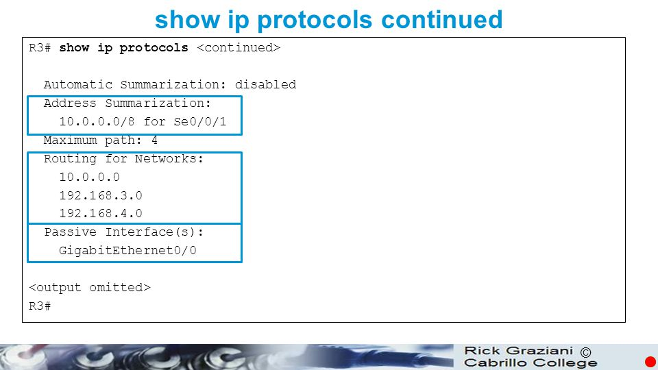 show ip protocols continued