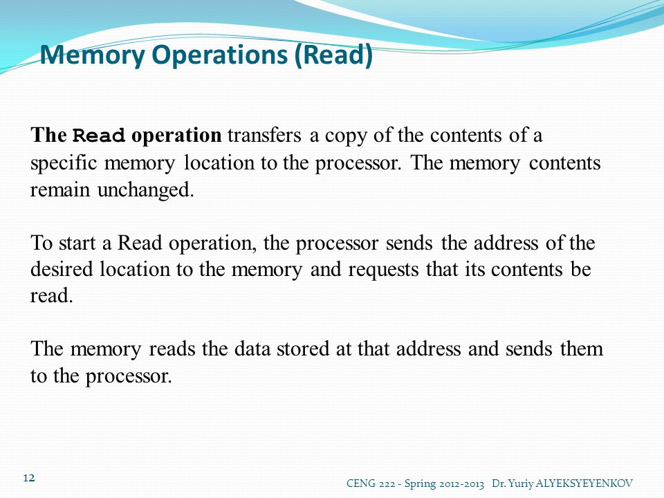 Memory Operations (Read)