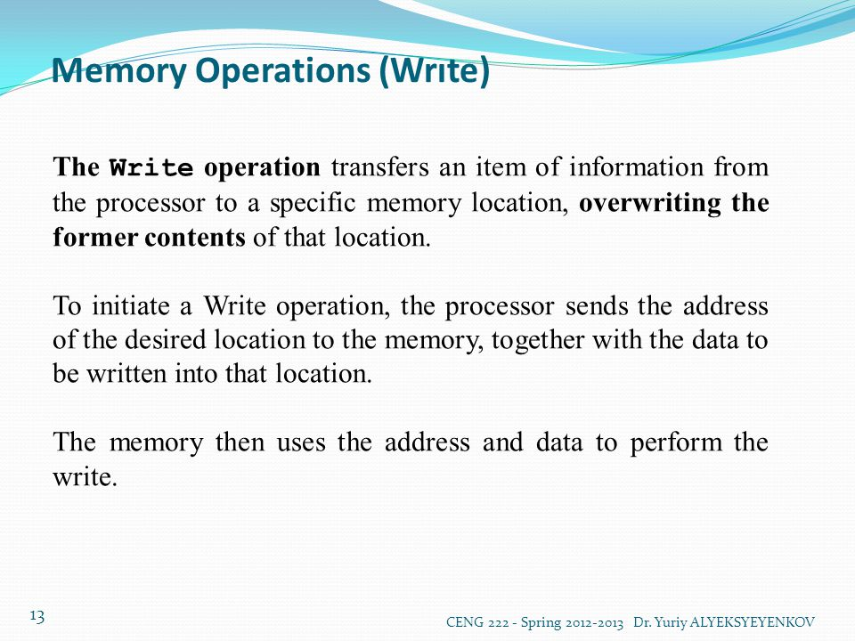 Memory Operations (Wrıte)