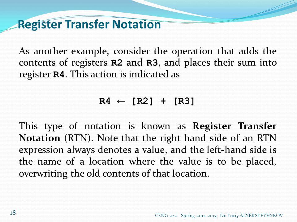 Register Transfer Notation
