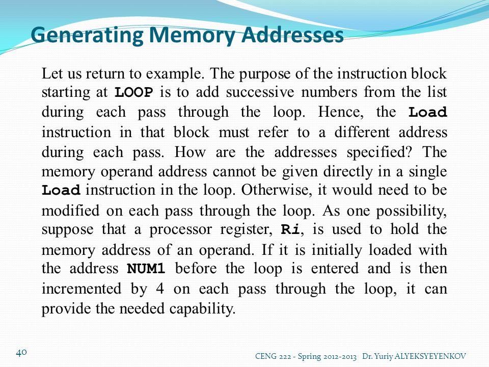 Generating Memory Addresses
