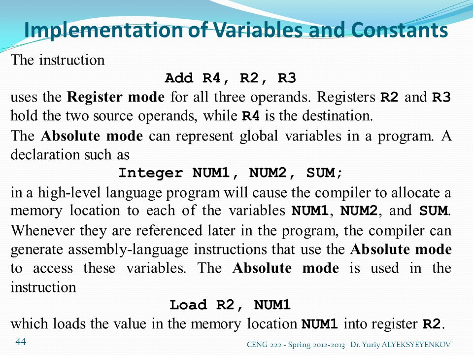 Implementation of Variables and Constants