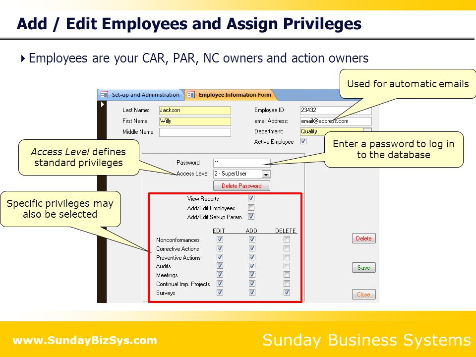 Add / Edit Employees and Assign Privileges