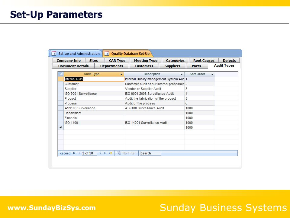 Set-Up Parameters