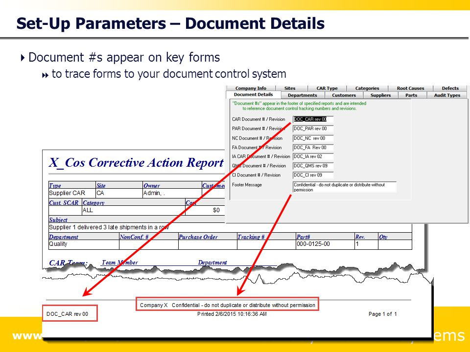 Set-Up Parameters – Document Details