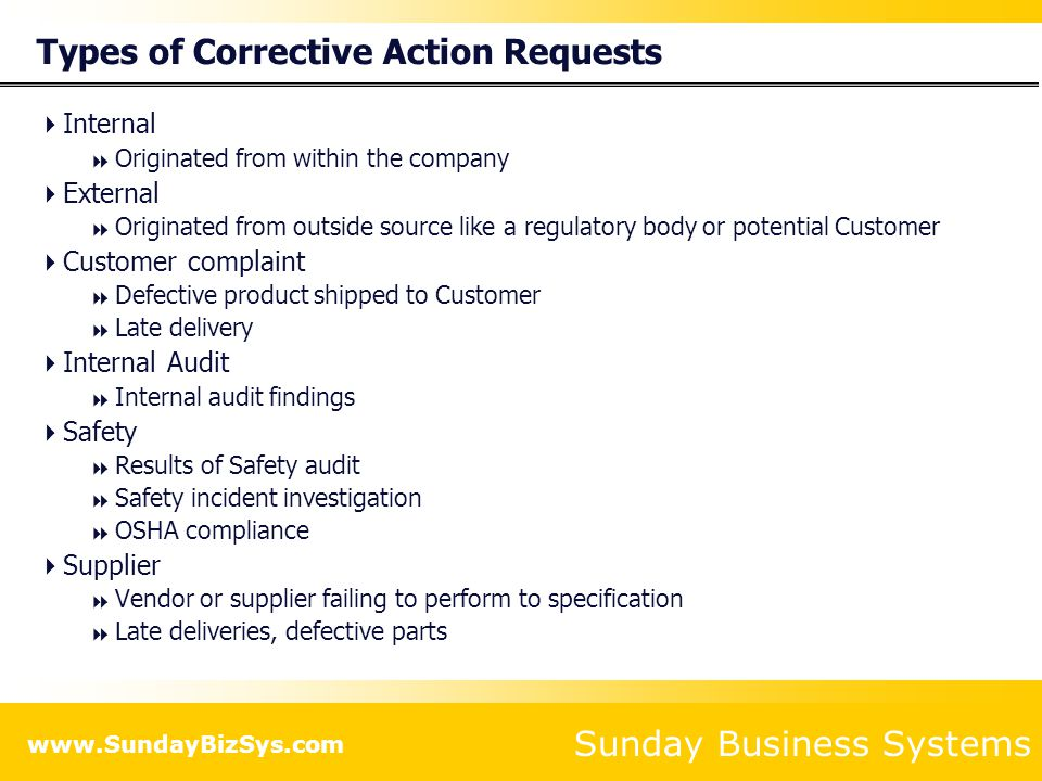 Types of Corrective Action Requests