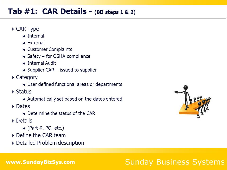 Tab #1: CAR Details - (8D steps 1 & 2)