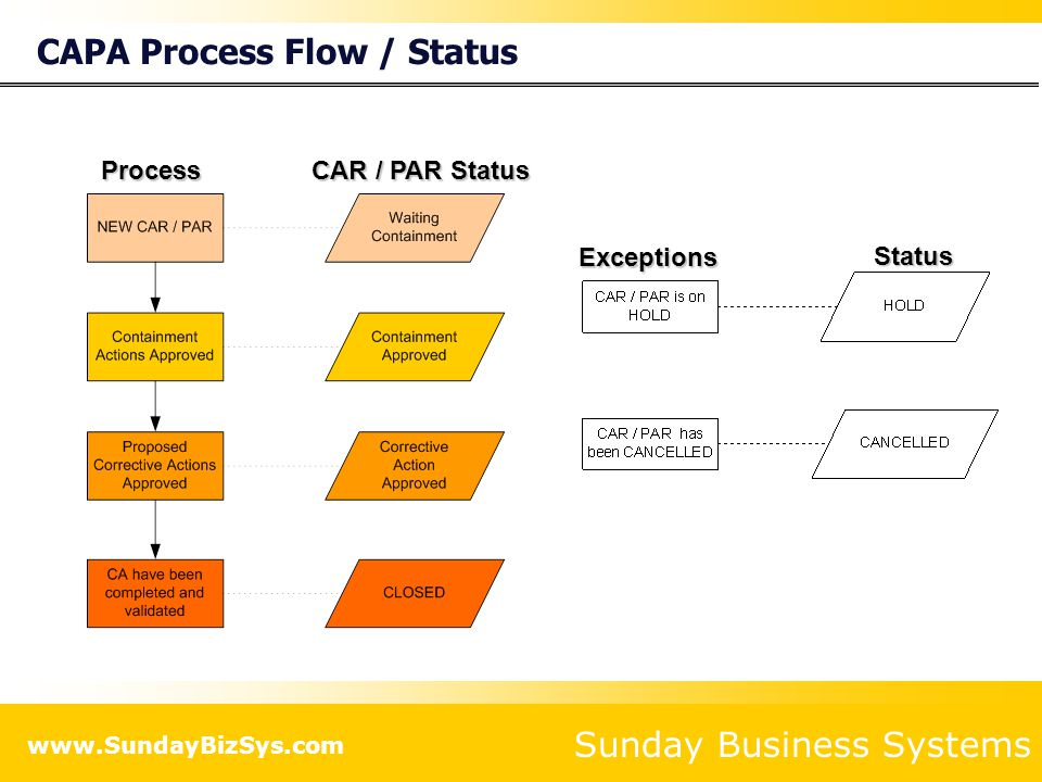 CAPA Process Flow / Status