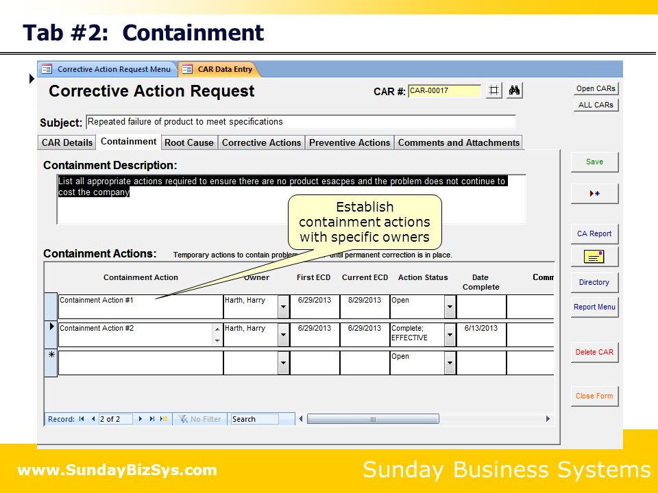 Establish containment actions with specific owners