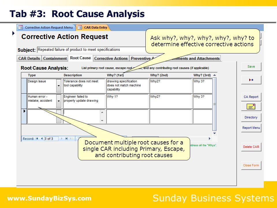 Tab #3: Root Cause Analysis