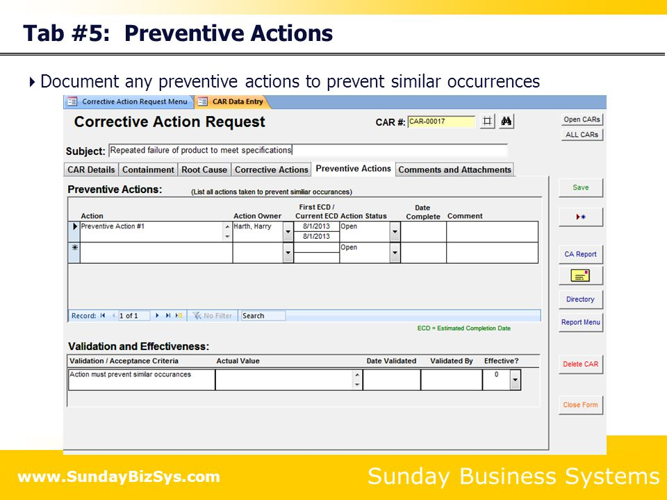 Tab #5: Preventive Actions